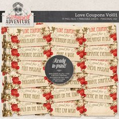 Printable Coupons Love Gift For Her Him DIY Valentines Digital Download Tickets Collage Sheet