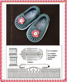 Diagrama y patrón para hacer zapatos en ganchillo