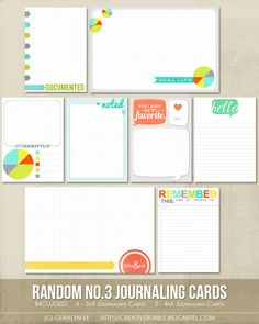 Random no.3 Journaling Cards -Creative Bubble - lots of great printables here
