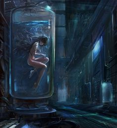 FreiheitØrsted by ushas  Girl in a lab tank, some #cyberpunk #scifi inspiration
