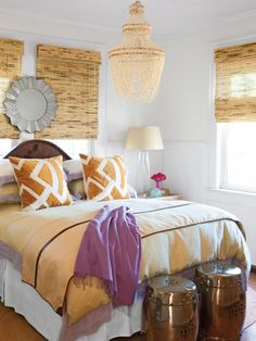 Awesome bamboo-ish blinds! Also love the neutral but bright color scheme!