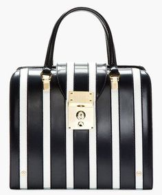 Navy & White Leather Banker Stripe Mrs. Thom Jr Bag, Thom Browne