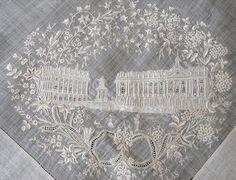"""Maria Niforos - Fine Antique Lace, Linens & Textiles : Antique Lace # LA-215 Exquisite """"Grand Tour"""" Appenzel Hankerchief """"Place Stanislaus Nancy"""""""