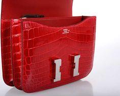 U WILL FLIP HERMES CONSTANCE NILO CROCODILE HOT RED BRAISE BAG 18cm OMG@!! image 5