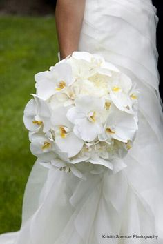Exquisite Round Wedding Bouquet Of: White English Garden Roses, & White Phalaenopsis Orchids...............