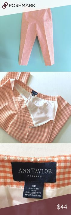 """NWOT Ann Taylor Silk Checkered Capris NWOT Ann Taylor Petites 100% Silk Coral Checkered Capris // sz 4p // Style# 45761 // side zipper // no pockets // in perfect condition! // 14"""" waist laid flat / 9.5"""" rise / 22"""" inseam / 19"""" hips laid flat // not my size. can't model! // Same Day or Next Day Shipping!! Offers Welcome! // 20% off 3+ Bundles! 9.4.44 // 5.8o {business, office attire, career wear} Ann Taylor Pants Ankle & Cropped"""