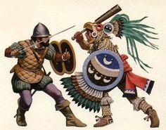 Spanish Conquistador fighting against an Aztec Eagle Warrior during the Spanish conquest of the Aztec Empire in 1521 by Angus McBride Conquistador, Ancient Aztecs, Ancient History, Aztec Weapons, Soldado Universal, Aztec History, Les Runes, Terra Nova, Terra Nullius