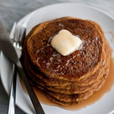 Whole Grain Gluten-Free Pumpkin Pancakes - Cafe Johnsonia