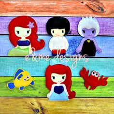 Finger Puppets – Sea Princess Each set is OOAK yours will vary slightly from the example photo Finished set is $21