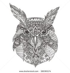 Owl. Hand-drawn owl with ethnic floral doodle pattern. Coloring page - zendala, design for spiritual relaxation for adults, vector illustration, isolated on a white background. Zen doodles. - stock vector