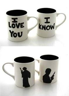Princess Leia and Han Solo coffee mugs... Want to do this as christmas ornaments