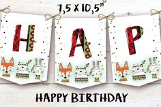 Tribal Wild One First Birthday Banner, Boho Woodland Animals Girl Party, Instant Download, Printable Template Editable, YOU PRINT First Birthday Banners, Happy Birthday, Wild Ones, Woodland Animals, First Birthdays, Printable, Templates, Boho, Holiday Decor