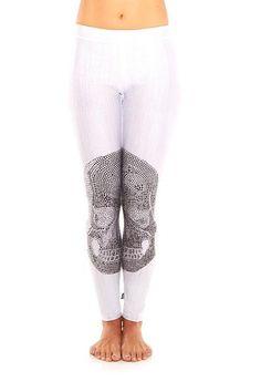 Womens White Crystal Skull Performance Leggings