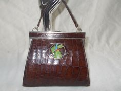 Art Deco French crocodile skin handbag with Bakelite Scottie and chrome by VintageHandbagDreams on Etsy