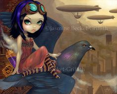 Poe's Flight steampunk pigeon fairy art print by Jasmine Becket-Griffith 8x10