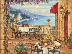 Backsplash designs - Tuscan waterview tiles - Afternoon Lunch - Tile Mural