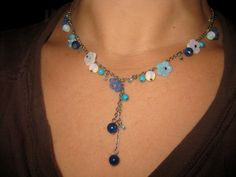 Sweet ADIA KIBUR Blue Glass Flower Dangly NECKLACE