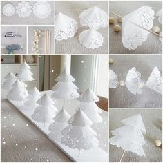 Decorate the table for Christmas: 41 decoration ideas for a Christmas table - Anny Brogni Modro - Ward Christmas Party, Christmas Napkins, Christmas Origami, Christmas Colors, White Christmas, Christmas Crafts, Christmas Decorations, Xmas, Christmas Trees
