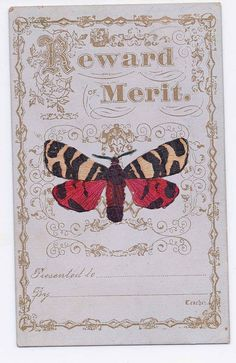 Fine Reward of Merit with Die Cut Butterfly American 1870s Unused | eBay