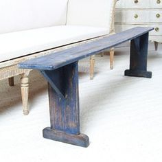 Charming Danish Bench in Striking Blue Paint - Decorative Collective
