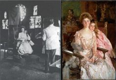 Here's a photo of John Singer Sargent painting Mrs. Fiske Warren (Gretchen Osgood) and her daughter Rachel at the Fenway Court in Boston (now the Isabella Stewart Gardner Museum), where Sargent had set up a temporary studio.    Sargent placed a chair behind the sitters, with poles strapped to the back of the chair. Across those poles he draped a piece of cloth as a cutter to reduce the backlighting and the glare into his eyes. The soft key light comes from a window unseen to the right.
