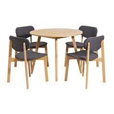Portbel Beech Finish Round Shape Dining Table And 4 Dining Chair - Wooden Dining Tables And 4 Chairs, Furnitureinfashion UK