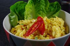 Reissalat mit Currydressing