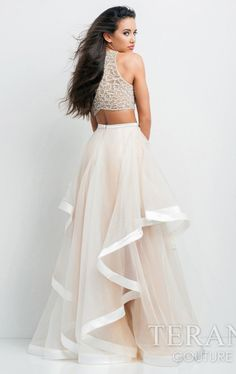 New 2015 Two Piece Gown Evening Prom Party Dress by Terani Couture