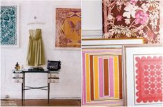 Frame a vintage scarf. Remember when designer David Anger did this with vintage Vera scarves.  Gorgeous!