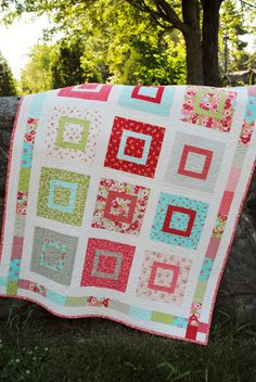 Large Baby Quilt or Toddler Quilt Moda's Ruby Fabric by sweetjane, $165.00