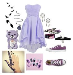 """""""pastel goth"""" by stayawayfromsquidgytheoutcast ❤ liked on Polyvore featuring Disney and Converse"""