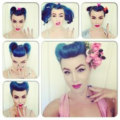 bumper bang with victory rolls pinup hair tutorial
