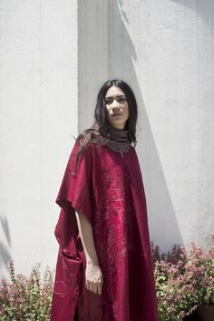 swati kalsi, hand embroidered silk kaftan