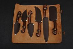 Six Pieces Damascus Chef/Kitchen Knife Set + Leather Roll Kit – Stoneageknives Damascus Kitchen Knives, Damascus Steel Chef Knife, Forged Knife, Chef Knife Bags, Chef Knife Set, Knife Sets, Leather Roll, Leather Tooling, Bushcraft Knives