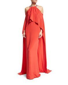 Halter+Cold-Shoulder+Cape+Gown,+Geranium+by+Monique+Lhuillier+at+Neiman+Marcus.