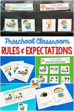 Preschool Classroom Rules and Expectations Art Classroom Rules, Preschool Teacher Tips, Preschool Classroom Rules, Kindergarten Vocabulary, Preschool Behavior, Preschool Printables, Preschool Activities, Teaching Ideas, Classroom Ideas