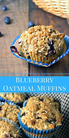 Blueberry Oatmeal Muffins Blueberry Oatmeal Muffins are bursting with fresh berries and are crowned with a brown sugar streusel crumble for a bakery-style result. Muffin Recipes, Brunch Recipes, Baking Recipes, Dessert Recipes, Breakfast Recipes, Healthy Breakfast Breads, Breakfast Muffins, Breakfast Items, Dessert Bread