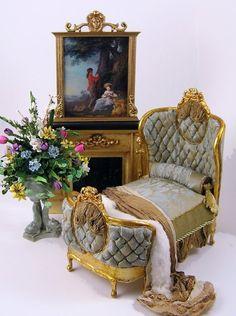 Miniature, Fancy Bedroom Furniture in 1/12 scale.