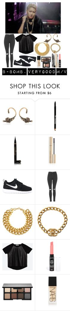 """""""Block B's B-Bomb 2."""" by ysh-r ❤ liked on Polyvore featuring Roberto Cavalli, Lord & Taylor, Chanel, Dolce&Gabbana, NIKE, Topshop, A.V. Max, Zara, NYX and Smashbox"""