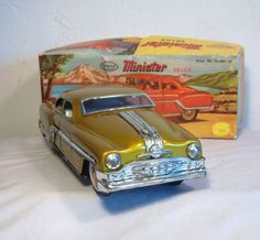 """Vintage """"Minister"""" Friction Drive Toy Tin Car in Gold Paint from rarepossessions on Ruby Lane Toy 2, Antique Metal, Antique Toys, Toy Trucks, Tin Toys, Toy Boxes, Gold Paint, Car Car, Vintage Toys"""