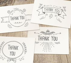 Hand Drawn Printable Thank You Cards | Work Your Art