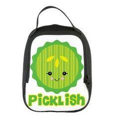 kawaii picklish pickle slice.png Neoprene Lunch BagTicklish Picklish Kawaii Pickle Slice  Dooni Designs