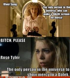 Well...the dalek Rose was dealing with was essentially dying, vulnerable  and not a threat...the one River encountered was getting stronger(and if I remember correctly had just zapped the Doctor)    Let's have a little context here.
