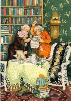 Groothandel Postkaarten van Inge Look number 31 Arte Game Of Thrones, Old Lady Humor, Old Folks, Alphonse Mucha, Old Women, Finland, Illustrators, Folk Art, Funny Pictures