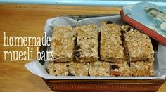 I replaced the rice bubbles with All Bran and added nuts too. Date Recipes, Sweet Recipes, Whole Food Recipes, Homemade Muesli Bars, Baking Recipes, Sweet Treats, Yummy Food, Snacks, Desserts