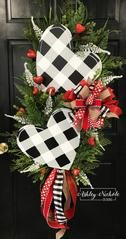 """This burlap heart wreath will be a great addition to your home for Valentines Day. Please use the text box to tell us your initial or to personalize any way you wish. Size: This wreath was created using a 24"""" oval grapevine"""
