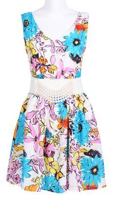 Blue V-neck Sleeveless Flowers Print Belt Chiffon Dress - Sheinside.com