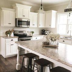 awesome decorating ways for your kitchen design - page 44 Farmhouse Kitchen Decor, Kitchen Redo, Home Decor Kitchen, New Kitchen, Home Kitchens, Kitchen Ideas, Kitchen Hacks, Kitchen Designs, Kitchen Furniture