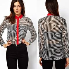Chic Turndown Collar Striped Womens Concealed Button Down #Shirt #Blouse #Tops