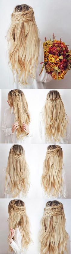 Half Up Boho Braids Hair Tutorial